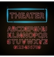 red neon lamp letters font show cinema or vector image