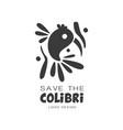 save the colibri logo design protection of wild vector image vector image