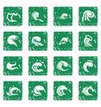 sea waves icons set grunge vector image vector image