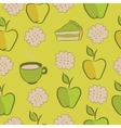 Seamless pattern with cakes apple and tea vector image