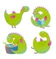 set fun cartoon dragons vector image vector image