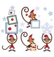 set merry christmas monkey vector image vector image