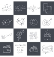 Set of graphic black and white hand-drawn elements vector image vector image