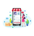 shopping online on mobile phone vector image vector image