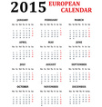 Simple European Calendar for 2015 vector image