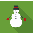 Snowman flat icon on green background vector image vector image