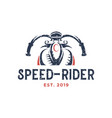 speed rider motorcycle vintage logo design vector image