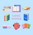 textbook piles or book heap textbook literature vector image vector image