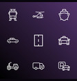 transport icons line style set with scooter vector image vector image