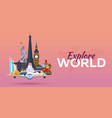 travel to world airplane with attractions travel vector image