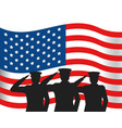united state flag with military officer silhouette vector image vector image