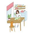 young girl has a breakfast at home vector image vector image