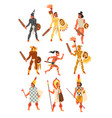 armed tribal male warriors set tribe members in vector image vector image