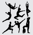 ballerina and yoga sport silhouette vector image vector image