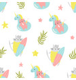 Bright seamless pattern with funny summer cats