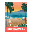 california beach surfing travel poster vector image vector image