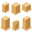 cardboard boxes and wood pallet isometric vector image vector image