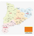 catalonia administrative and political map with vector image vector image