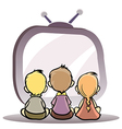 children watching tv vector image vector image
