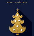 christmas and new year gold glitter pine tree card vector image vector image