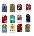 christmas tags cute collection vector image vector image