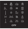 city editable line icons set on black vector image vector image