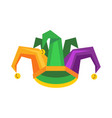 colorful jester hat with bells flat vector image vector image