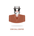 Cow call Center Bull with headset Farm animal vector image vector image