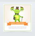 cute funny green monster gentlemen dressed up top vector image vector image
