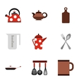 Dishes icons set flat style vector image vector image