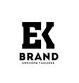 ek letter monogram strong and bold logo vector image vector image