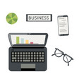 flat lay business layout top view vector image vector image
