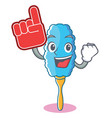foam finger feather duster character cartoon vector image vector image