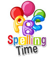 font design for word spelling time with colorful vector image