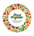 Fruits and Vegetables in a circle Gardening vector image