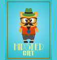 funny hipster cat vector image