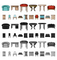 furniture and interior cartoon icons in set vector image vector image