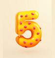 glazed donut font number 5 number five cake vector image vector image