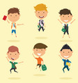 happy school boys jumping outdoor vector image vector image