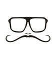 Hipter with glasses and mustache face vector image vector image