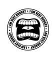 I am very hungry logo open mouth and teeth emblem