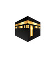 islamic icon kaaba mosque design isolated vector image