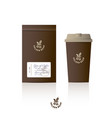 logo golden coffee glass packaging mock up vector image