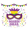mardi gras carnival masks with feathers garland vector image