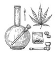 marijuana or cannabis drawing set plant vector image