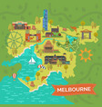 melbourneaustralia map with landmarkssightseeing vector image