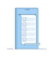 online test computer quiz form on smartphone vector image vector image