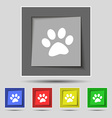 paw icon sign on original five colored buttons vector image vector image