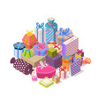 pile colorful gift boxes vector image vector image