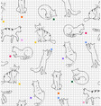 playing cats drawing on paper in line squares vector image vector image